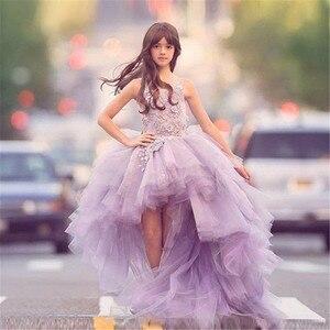 Великолепные Платья с цветочным узором для Девочек Пышные вечерние платья принцессы из тюля с аппликацией на день рождения платья для перв...