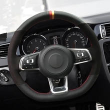 Hand-stitched Carbon Fiber Black Suede Car Steering Wheel Cover For Volkswagen Golf 7 GTI Golf R MK7 Polo Scirocco 2015 2016