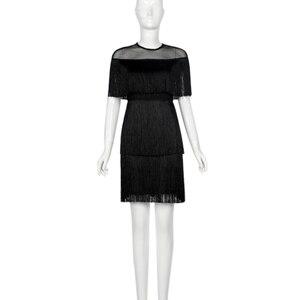 Image 3 - נשים בציר שמלת קיץ ציצית שכבות Vestido מסיבת Clubwear פרינג שמלות חוף רשת הדוק אופנה גבירותיי מוצק Midi שמלה