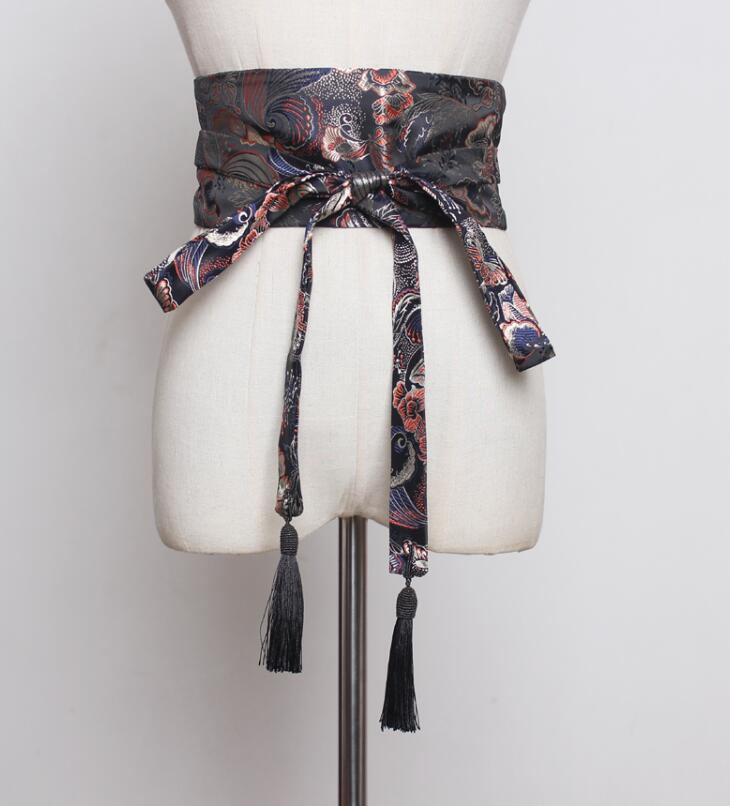 Women's Runway Fashion Embroidery Satin Cummerbunds Female Dress Coat Corsets Waistband Belts Decoration Wide Belt R1797