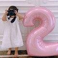40 дюймов Пастельные Детские синие и розовые шарики из фольги в виде цифр 1 2 3 4 5 6 7 8 9 для дня рождения, вечеринки в честь будущей мамы, свадьбы, ...