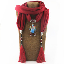 New polyester-cotton ceramic tassel pendant scarf mixed color ladies shawl jewelry necklace ethnic
