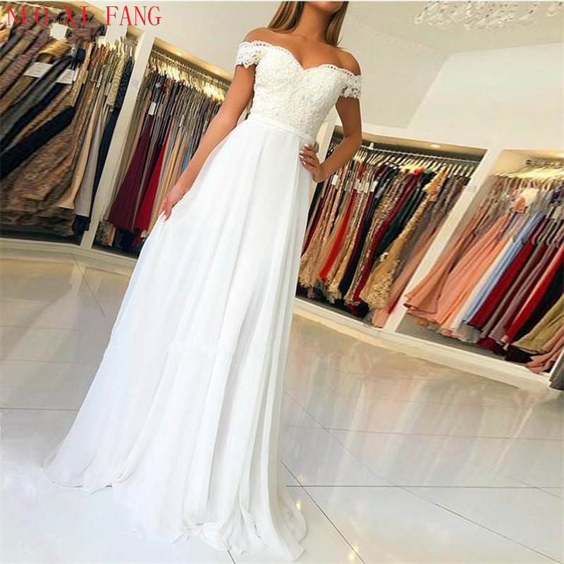 NUOXIFANG White Off The Shoulder Lace Boho Wedding Dresses 2020 Vestido De Noiva Zipper Back With Buttons Bridal Gowns Trouwjurk