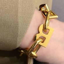 AENSOA  Fashion Brand Capital Letters B Punk Bracelets Gold Color Chain Initial Letter Bracelet Gifts for Women Alphabet Jewelry