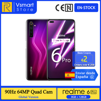 Перейти на Алиэкспресс и купить В наличии глобальная версия Realme 6 Pro смартфон 8G 128G 6,6 90Hz экран 64-мегапиксельная четырехъядерная камера Snapdragon 720G 4300mAh 30W быстрая зарядка
