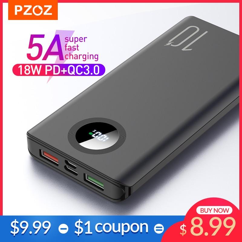 PZOZ 5A Power Bank 10000mAh Fast charging Mobile Phone External Battery Portable Charger 20000mAh PowerBank For iPhone Xiaomi Mi