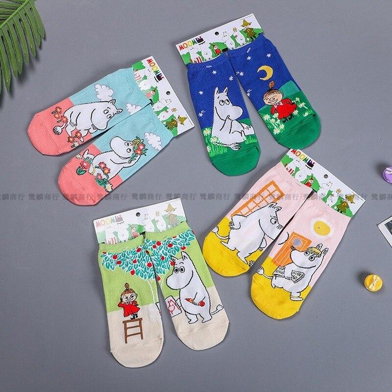Женские мягкие носки Little My Мультяшные дамские носки с принтом Mu Ming niiskuneлога цветные повседневные хлопковые носки версии AB