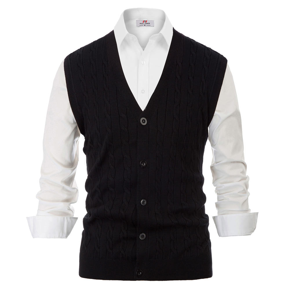 Men Sweater Vest Knitwear Sleeveless V-Neck Button Fit Warm Casual Comfortable Solid Autumn Winter Knit Tops Stretchy Male