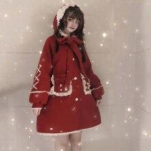 Зимнее милое пальто в стиле Лолиты, винтажное пальто с воланами, бантом и рукавами-фонариками, милое пальто плюс бархатное утепленное пальто в готическом стиле Лолиты