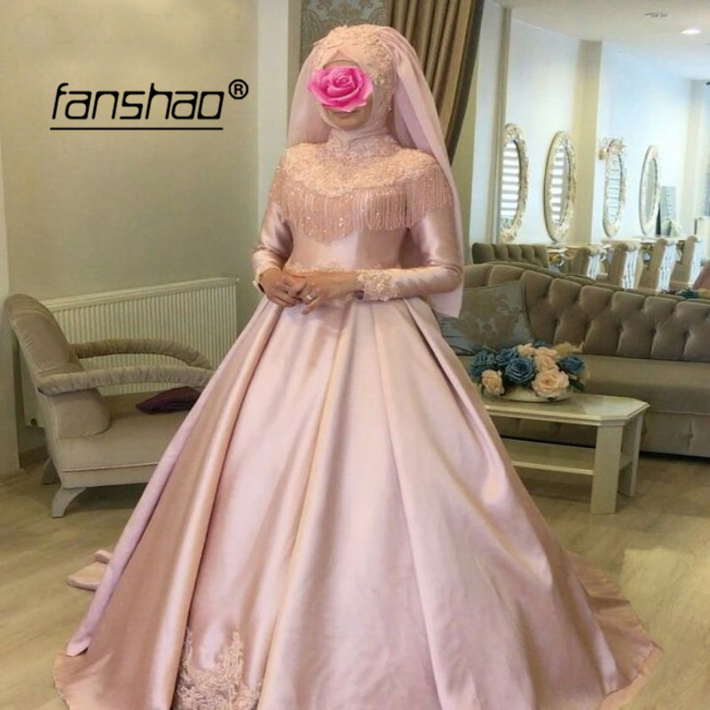 Pink Muslim Wedding Dress Applique Bling Bead Full Sleeve Satin Vestido De Noiva Dubai Arabic Wedding Gown Bridal Dress Plus