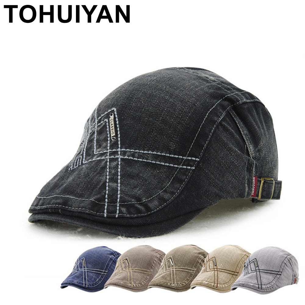 TOHUIYAN Gentleman Vintage Cotton Newsboy Cap Duckbill Visor Driving Peaked Hat Men Casual Travel Beret Caps Boina Gorras Planas