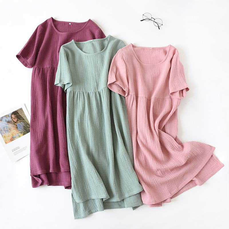 Summer Sleepwear 100% Cotton Crepe Short-sleeved Sleepshirts Plus Size Loose Nightgowns Women Night Gown Sexy Sleeping Dress