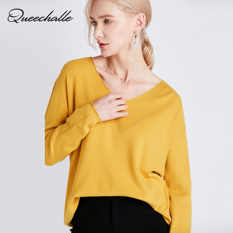 Yellow V Neck Knitted Pullover Women Spring Autumn Long Sleeve Casual Sweater Loose Solid Color Basic Knitting Jumper Tops Blue
