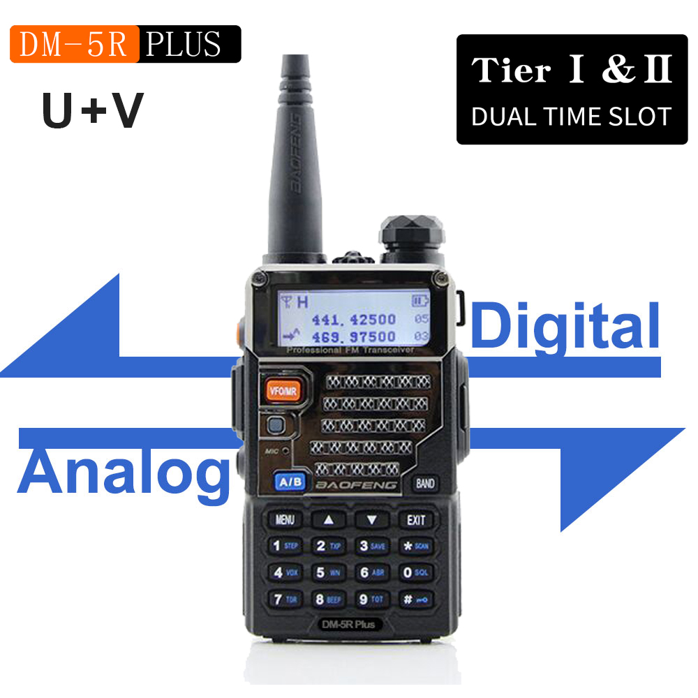 New BAOFENG DM-5R Plus DMR Digital Radio DM5RPLUS Dual Band Radio 144/430mhz FM Transceiver Dual Time Slot UV Walkie Talkie