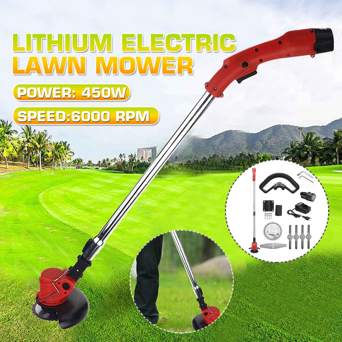 350W 10000 RPM Multi-functional Electric Lawn Mower Brush Cutter Cordless Control Grass Trimmer Adjustable Angle Garden Tool