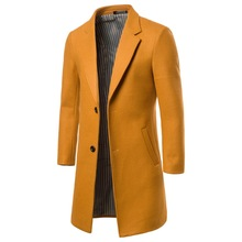 Men's Wool Coat New Autumn Winter Solid Color Simple Blends Male Business Casual Trench Jacket Overcoat Windbreaker M-5XL 6XL