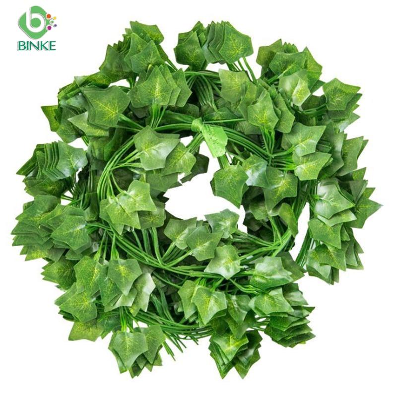 Binke 230cm green silk artificial Hanging ivy leaf plants vines leaves 1Pcs diy For Home Bathroom Decoration Garden Party Decor