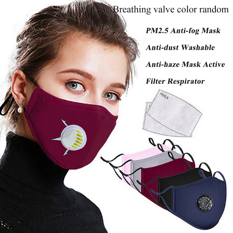 Mask Reusable PM2.5 Cotton Mouth Mask With Respirator Valve Filter Masks Washable In Stock