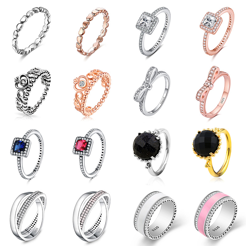 925 Silver Ring Charm Women Princess Crown Heart Enamel Big Stone Crystal Finger Rings For Women Jewelry