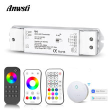 цена на RGBW LED Controller 12V 24V 36V DC 2.4G Wireless RF Remote Control 4 Channel Smart Wifi Controller for RGB RGBW LED Strip Lights