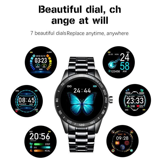 Smartwatch for Men Steel Band Heart Rate Blood Pressure Monitor Sport Multi-function Mode 1