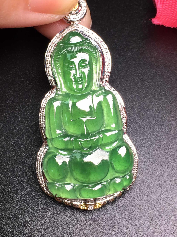 Jade Pendant 105 Fine Jewelry Pure 18K White Gold Myanmar Origin 100% Natural A Class Green Jade Bodhisattva Pendants