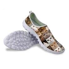 HYCOOL/Женская обувь с 3D принтом животных, кошек, собак; женские сетчатые кроссовки на платформе; Женская Удобная пляжная обувь без застежки; сезон лето