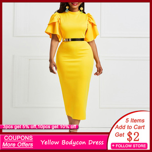 Evening Party Date Women Vintage Ruffle Yellow Blue Purple Bodycon Dress Office Lady Work Day Plus Size Midi Long Skinny Dresses(China)