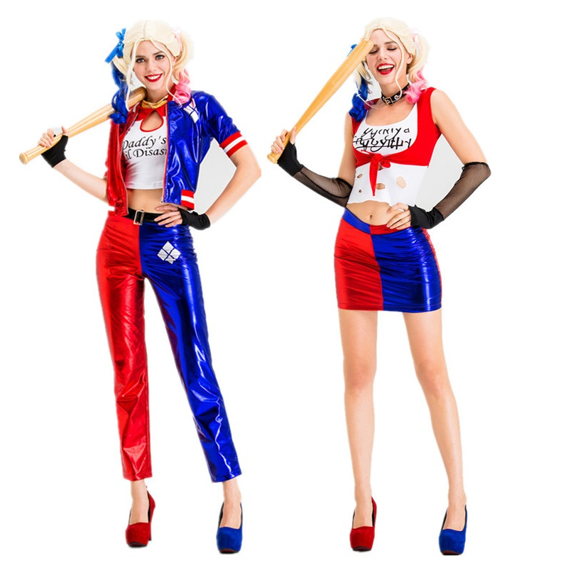 <font><b>Dancing</b></font> Stage Costumes Halloween Cosplay Costume Suicide Squad Harlequin Shrley Quinn Clown Girl Show Dress Sportswear image