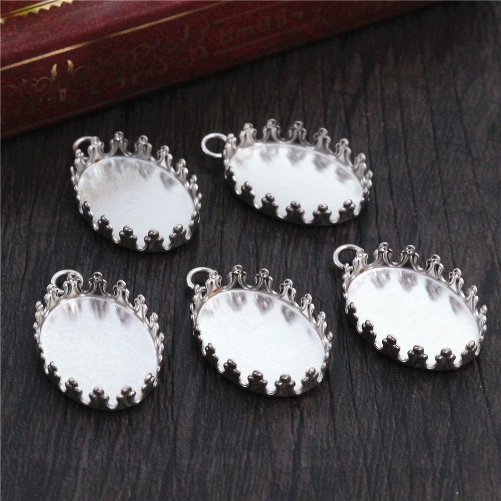 ( No Fade ) 10pcs 13x18mm Inner Size Stainless Steel Material Oval Style Cabochon Base Cameo Setting Pendant Tray -S2-31