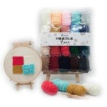 Fio de feltro para agulha, ponto cruz, bordado, 20 cores, tricô, diy