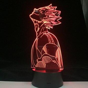 Lámpara LED de ANIME BOKUTO sonriente HAIKYUU, lámpara de cómic de Anime de Manga japonesa, lámpara Led 3D, luz nocturna de dibujos animados, regalo de cumpleaños para niños