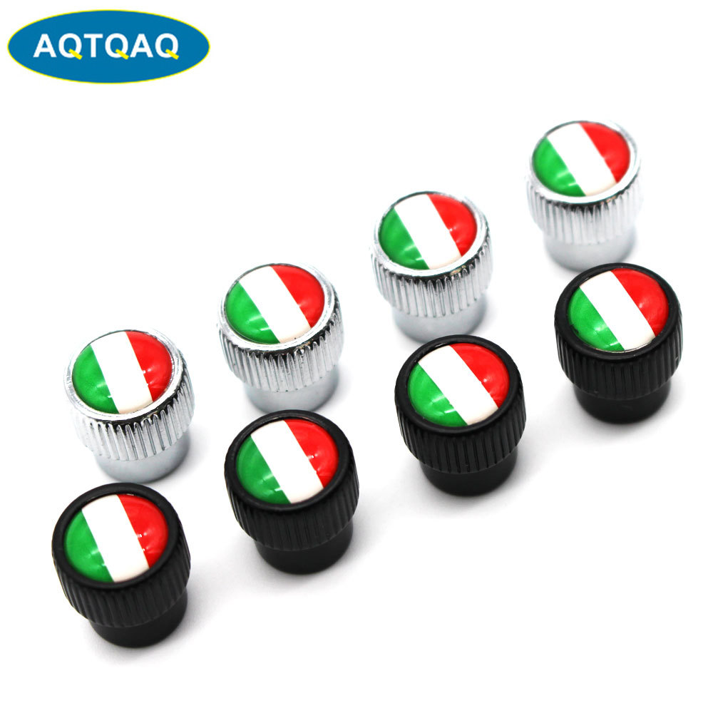 4 Pcs/Set Zinc Alloy Italy National Flag Tire Valve Stem Cap Tire Wheel Stem Air Valve Caps For Auto Cars