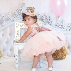 Pink Backless Princess Gold Bow Baby Dress for Girl Baptism Christening 1st Birthday Party Newborn Gift Infant Tutu Girls Gown(China)