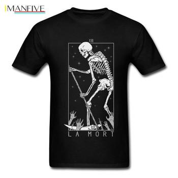 La Mort T-shirt Skull T Shirt Death Day Tshirt For Men Skeleton Print Streetwear Halloween Cotton Clothes Hipster Top Tees Black