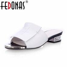 FEDONAS 2020 nowych kobiet lato wysokiej jakości kwadratowe wysokie obcasy pompy prawdziwej skóry buty sandały damskie z wystającym palcem panie kapcie