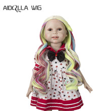 Aidolla  Doll Wig for 18inch American Rainbow Long Curly Heat Resist Wigs doll