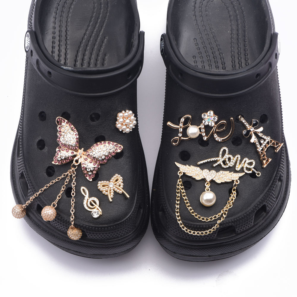 1PCS Metal Bling Charms for Croc Designer JIBZ Accessories Decoration for Clog Shoe Rhinestone Charm for Kids Gift