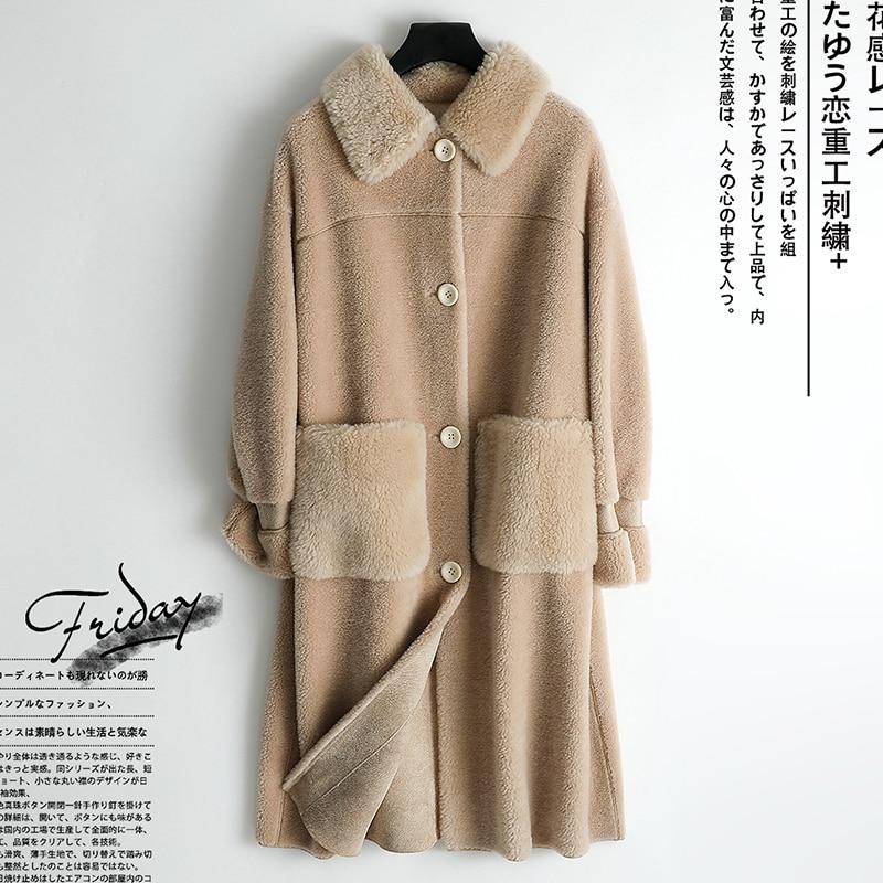 Real Fur Coat Female Vintage Long 100% Sheep Shearing Jacket Women Clothes 2019 Korean Elegant Woo Coats Tops Hiver 085