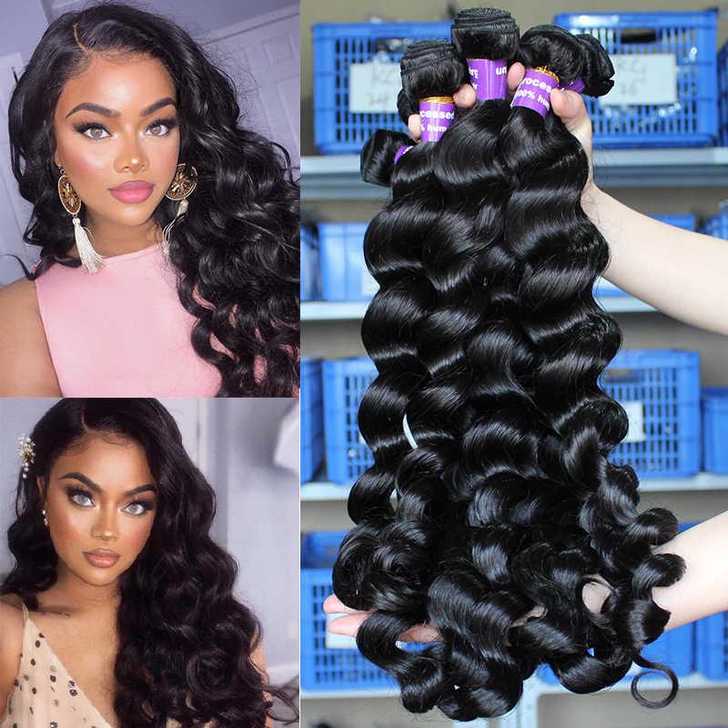 Lose Welle Bundles Brasilianische Haarwebart Bundles 100% Menschlichen Haar Bündel Erweiterung Ein Stück Natürliche Schwarze Farbe Remy Prosa
