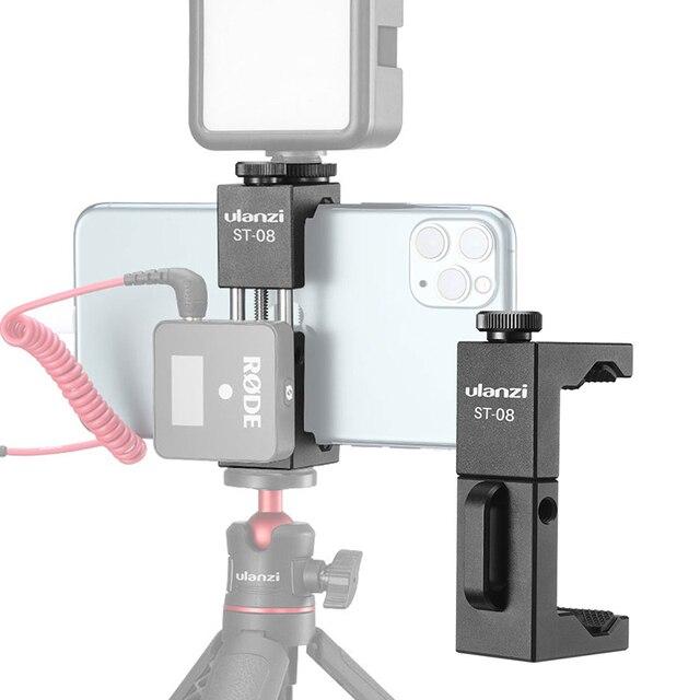 Беспроводной держатель для телефона Ulanzi, с клипсой для телефона с холодным башмаком, светодиодный светильник, штатив для видеосъемки микрофона