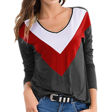 Spring Womens Color Block Long Sleeve T Shirt Ladies Autumn Loose Crew Neck Tops Female Casual Daily High Quality T Shirt 2019 drawstring color block hooded long sleeve t shirt