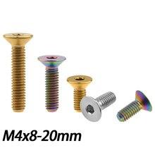 Titanium Bolts Socket-Head Countersunk Hexagon 10 Inner M4X8 15-20mm Screws 1pcs Fastener