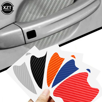 4Pcs/Set Car Door Sticker Carbon Fiber Scratches Resistant Cover Auto Handle Protection Film Exterior Styling Accessories image