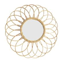 Nordic Style Wicker Wall Mount Mirror With Macrame Fringe Round Decor For Apartment Living Room Bedroom Baby Nursery