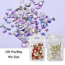 1 caixa 100 pçs strass para decorações da arte do prego zircão diamante encantos gem acessórios da arte do prego 3d decorações da arte do prego