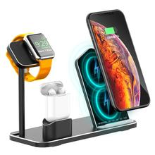 Aluminum alloy 10W Fast Wireless Charger Dock Station Charging For iPhone XR XS Max 8 for Apple Watch 1 2 3 4 AirPods
