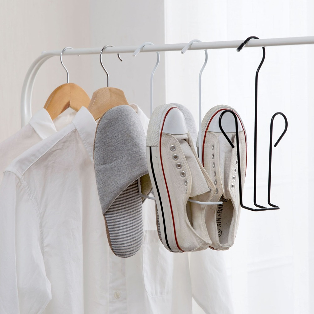 1Pc Shoes Drying Rack Hanger Iron Shoes Holder Hook Hanger Shelf Home Storage Rack Organizer Laundry Hanging Tools