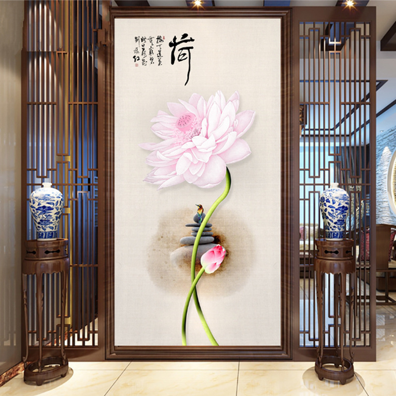 Customizable New Chinese Style Entrance Wallpaper Tea House Mural Living Room Corridor 3D Backdrop Wall Wallpaper Seamless Wall