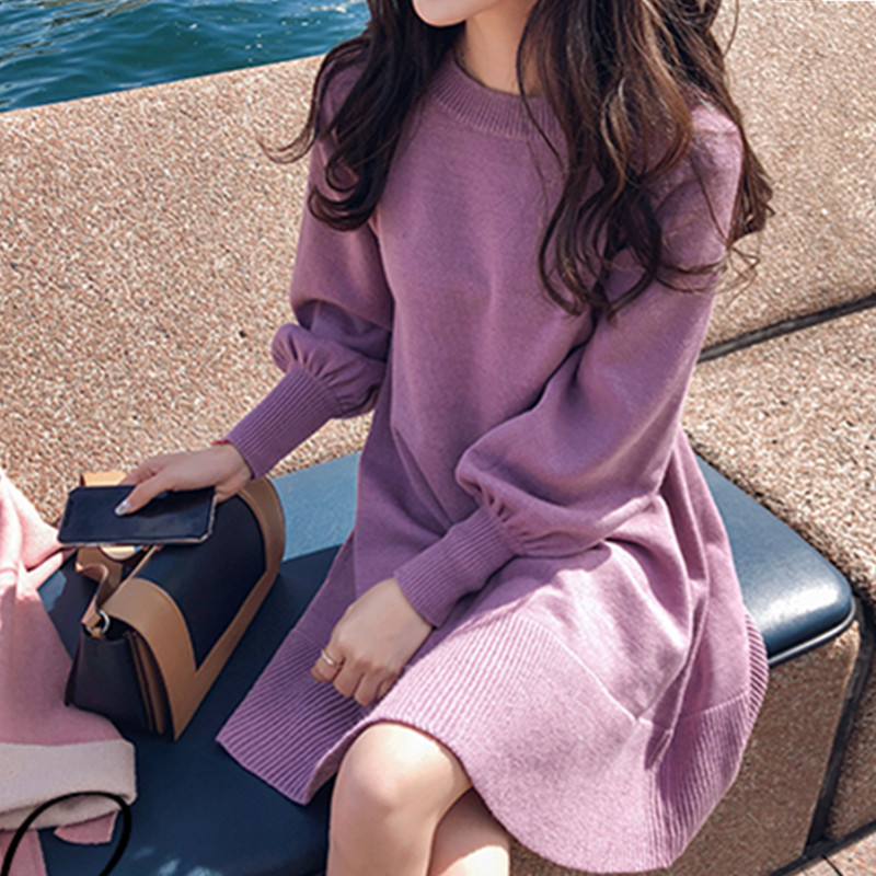 New Spring Korea Dress Women Knitting Oversize Autumn Midi Dress Lantern sleeve Fashion Sweater Dresses 32
